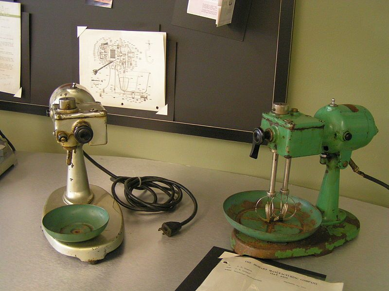 Antique kitchenaid mixers from a basement museum at
