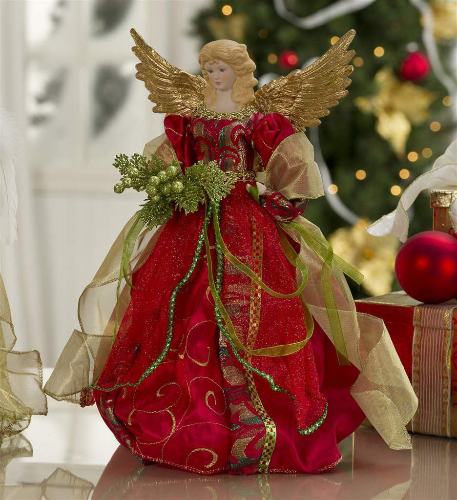 Lovely Christmas Angel Tree Topper In Ruby Red