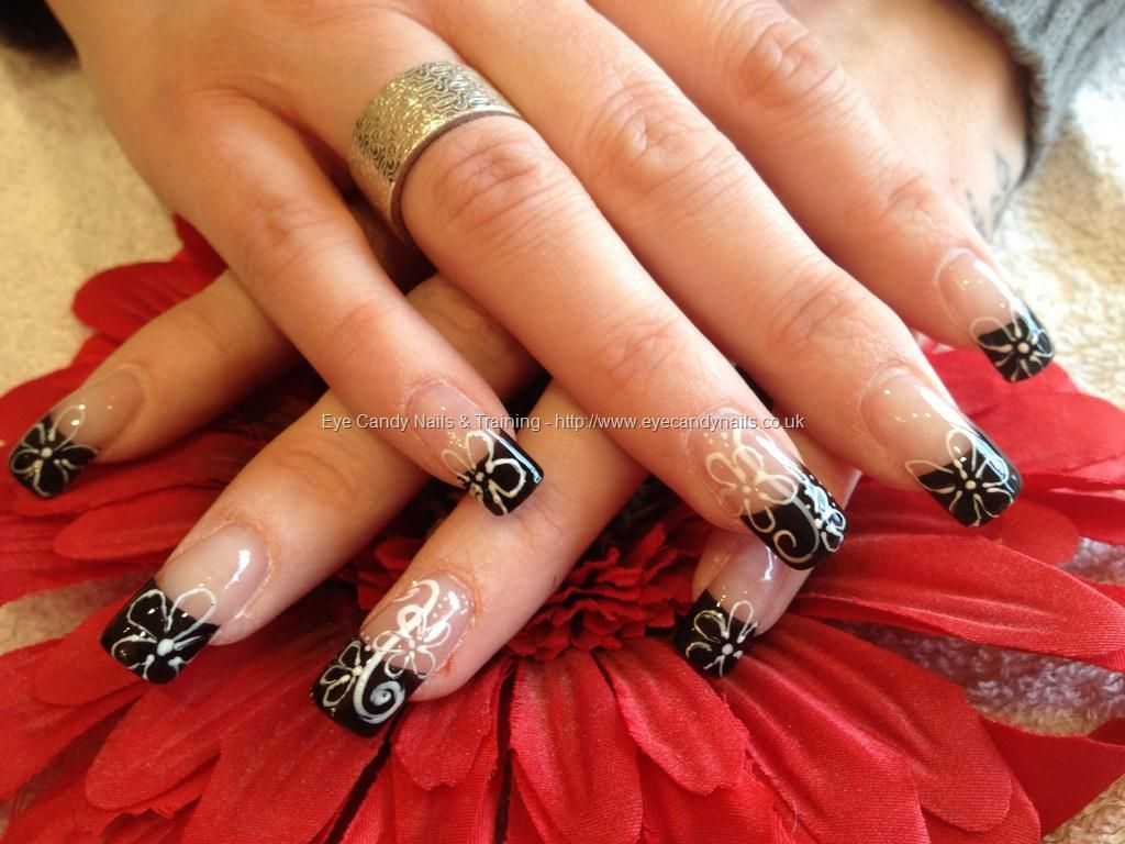 eye candy Nails & Training - Nails Gallery: Black tips with freehand nail  art by Elaine Moore on 21 February 2012 at 13:43 - Eye Candy Nails & Training - Nails Gallery: Black Tips With Freehand