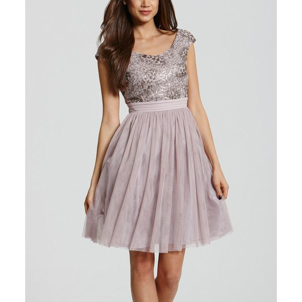 Little Mistress Mink Scoop Neck Fit & Flare Dress (74 NZD) ❤ liked on Polyvore featuring dresses, scoop neckline dress, fit and flare dress, long fit and flare dress, little mistress and fit flare dress