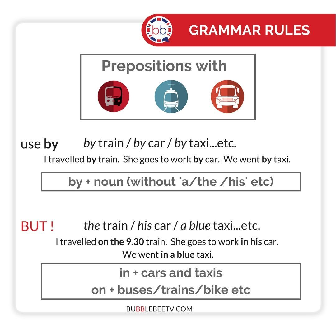 Prepositions With Public Transport Cars And Taxis English