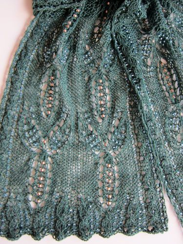 GORGEOUS BEADED LACE SCARF to KNIT in LACE WEIGHT YARN by HEARTSTRINGS