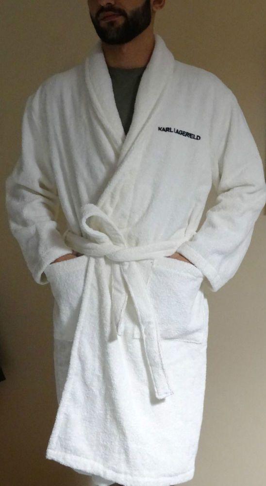 karl lagerfeld men39s women39s unisex white bath robe With robe karl lagerfeld