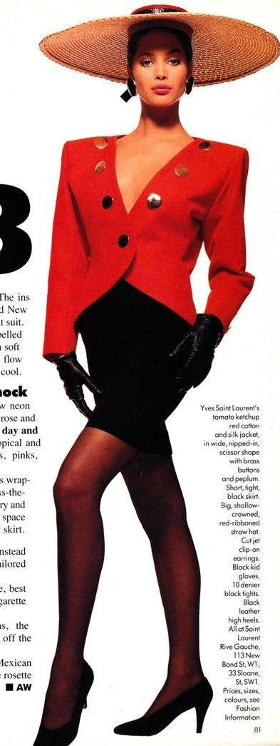1988 Yves Saint Laurent. Christy Turlington models, Vogue.