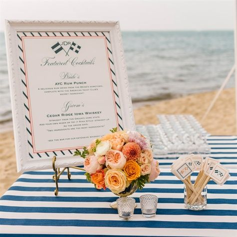 Nautical Striped Tablecloths And White Frame Potential For The Ceremony For  Drinks Table?