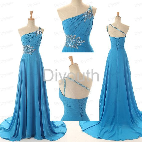 Oneshoulder Blue Prom Dress Under 200 Long Prom Dress by Diyouth ...
