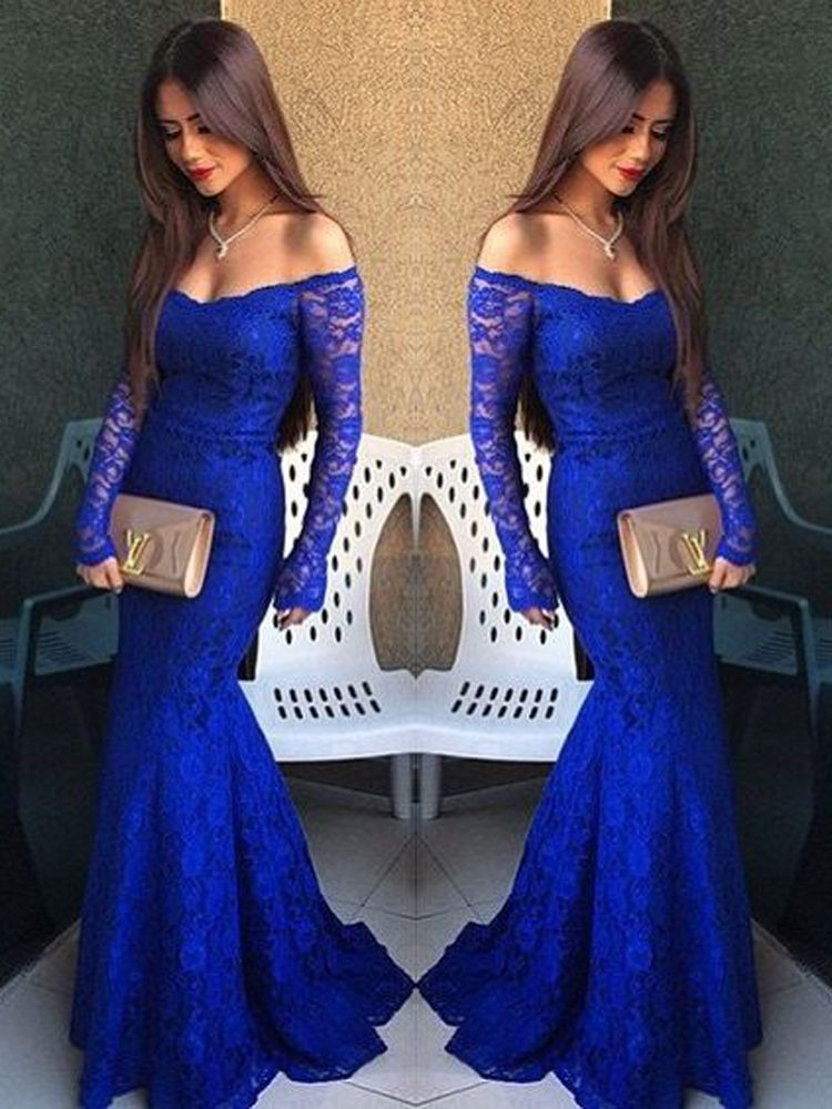a07874975b Charming Mermaid Off the Shoulder Royal Blue Long Sleeves Lace Long Prom  Dresses