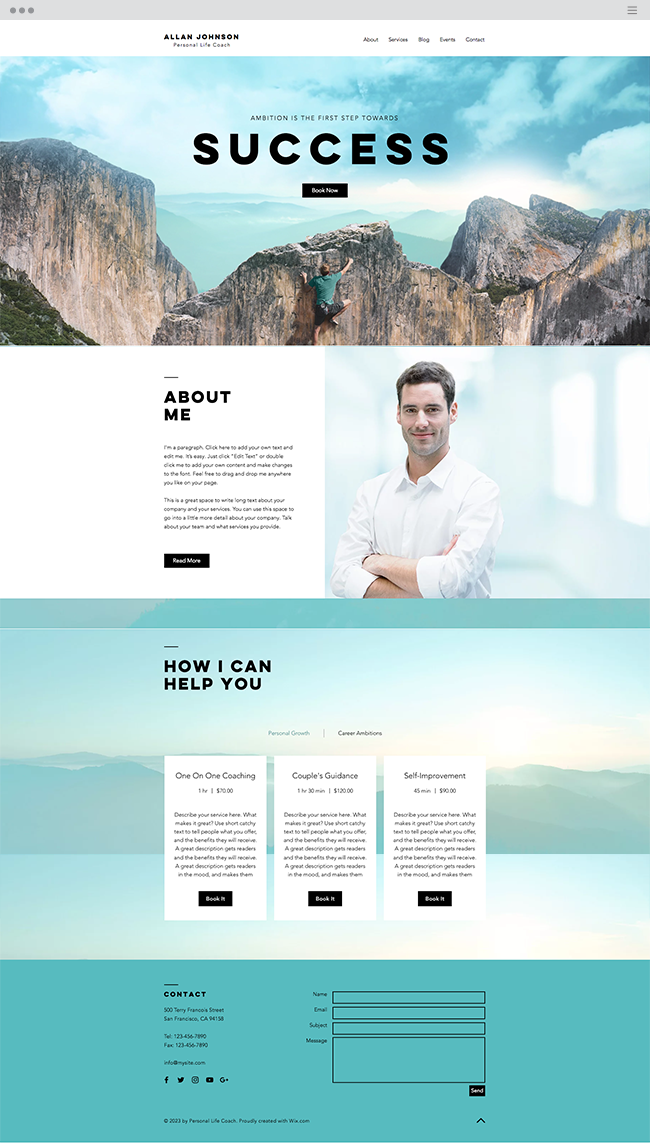 Success Coach Template Coach Website Business Website Layout Webpage Design
