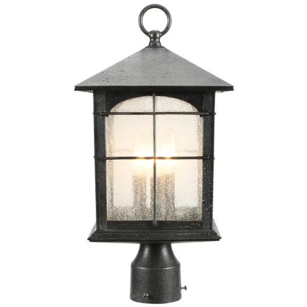 Home Decorators Collection Brimfield 3 Light Outdoor Aged Iron Post Light Y37031a 151 The Home Depot