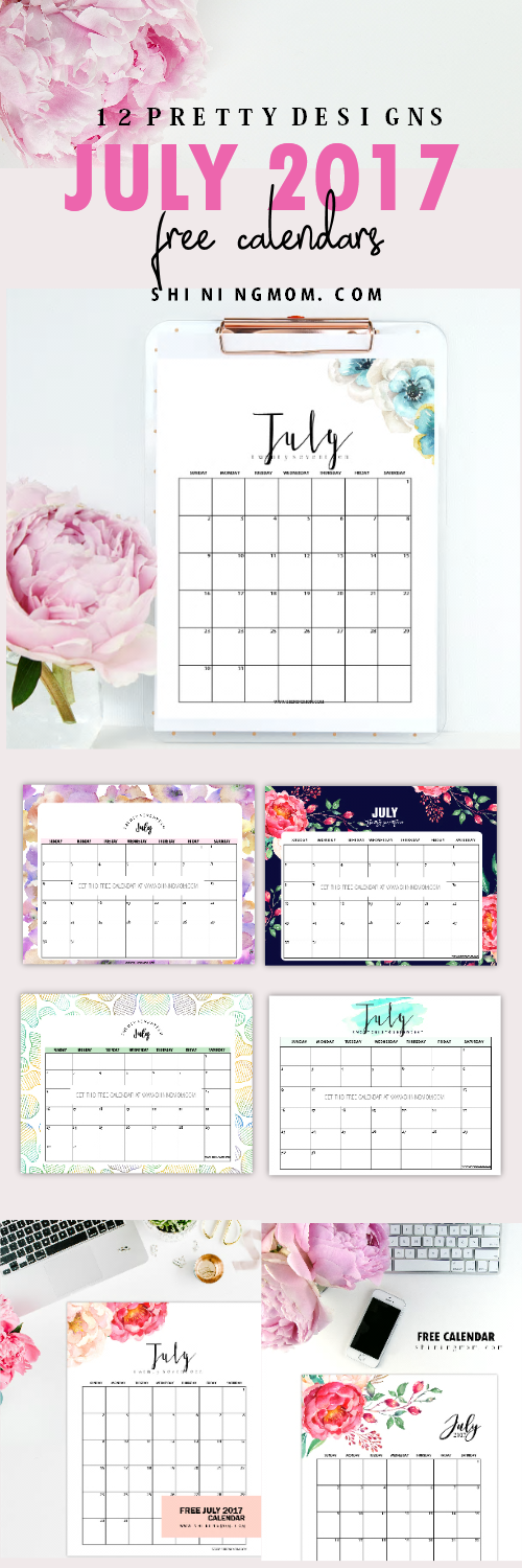 Free Printable July  Calendar  Pretty Designs