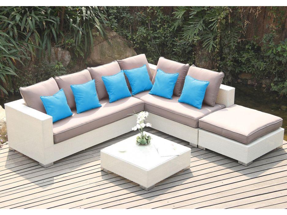 Salon de jardin AZUREA en résine tressée blanche : canapé dangle 4 ...