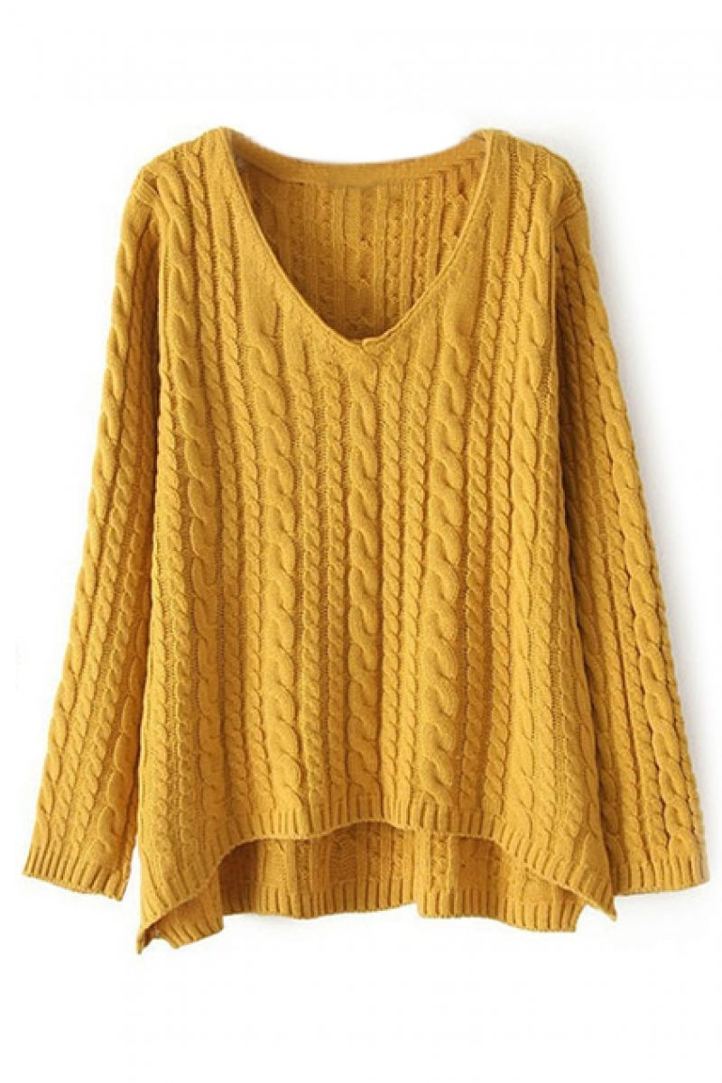abaday | abaday V-neck Twisted Yellow Jumper, The Latest Street Fashion