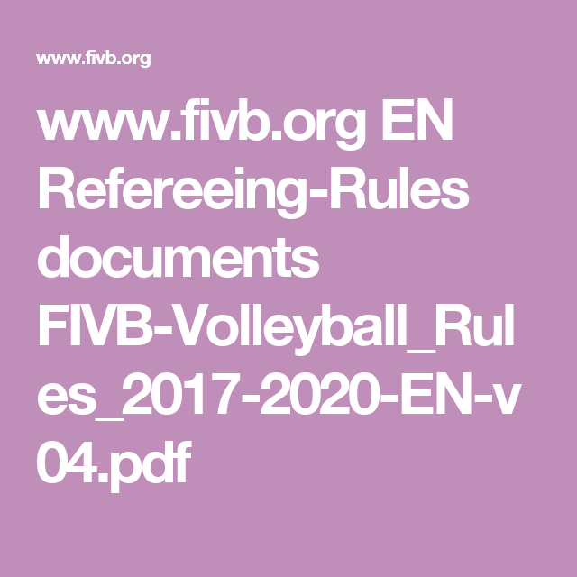 Volleyball Rules Pdf