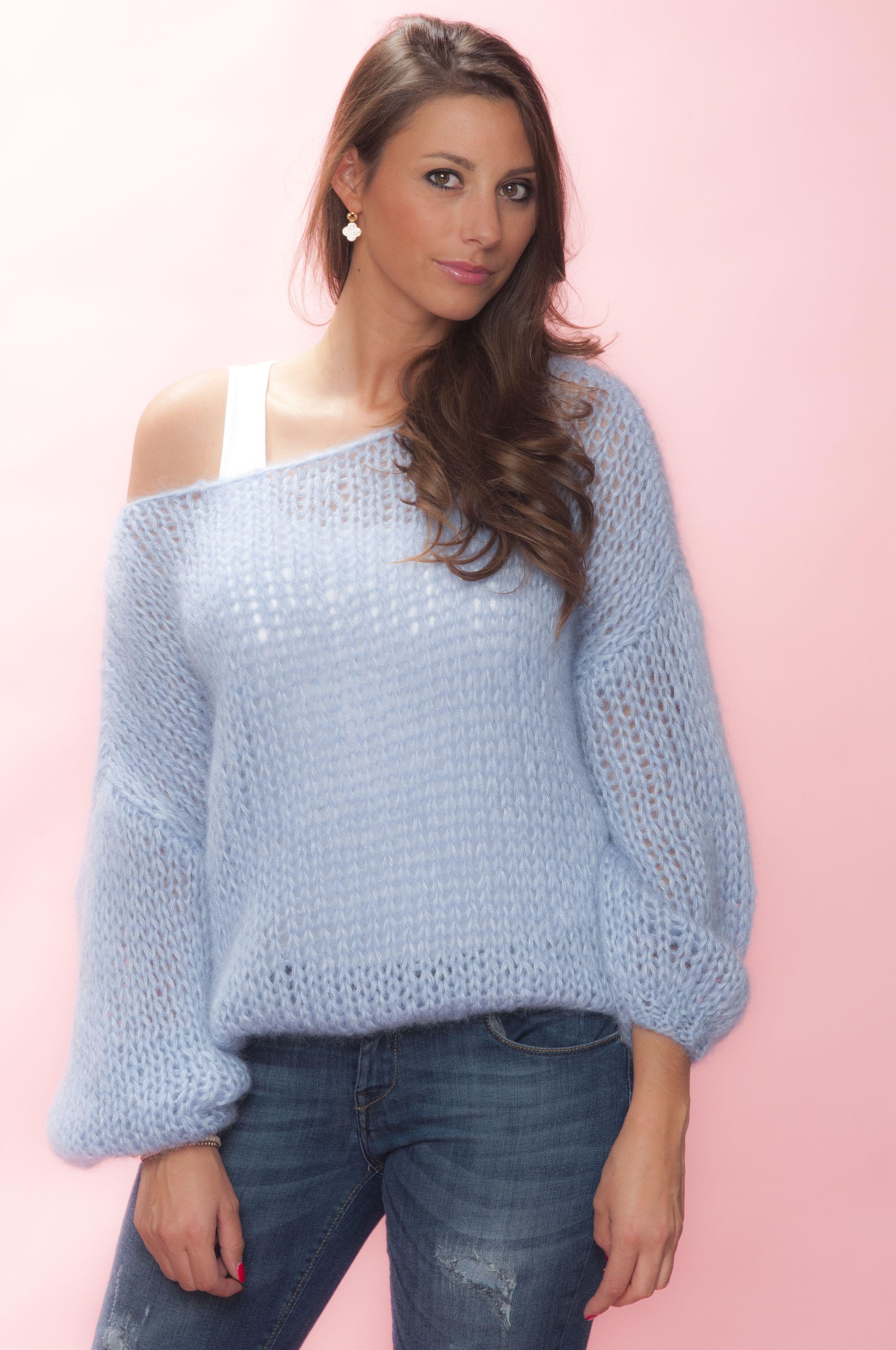 6cc1b90640 Oversized sweater in Skyblue  mohair silk soft handmade