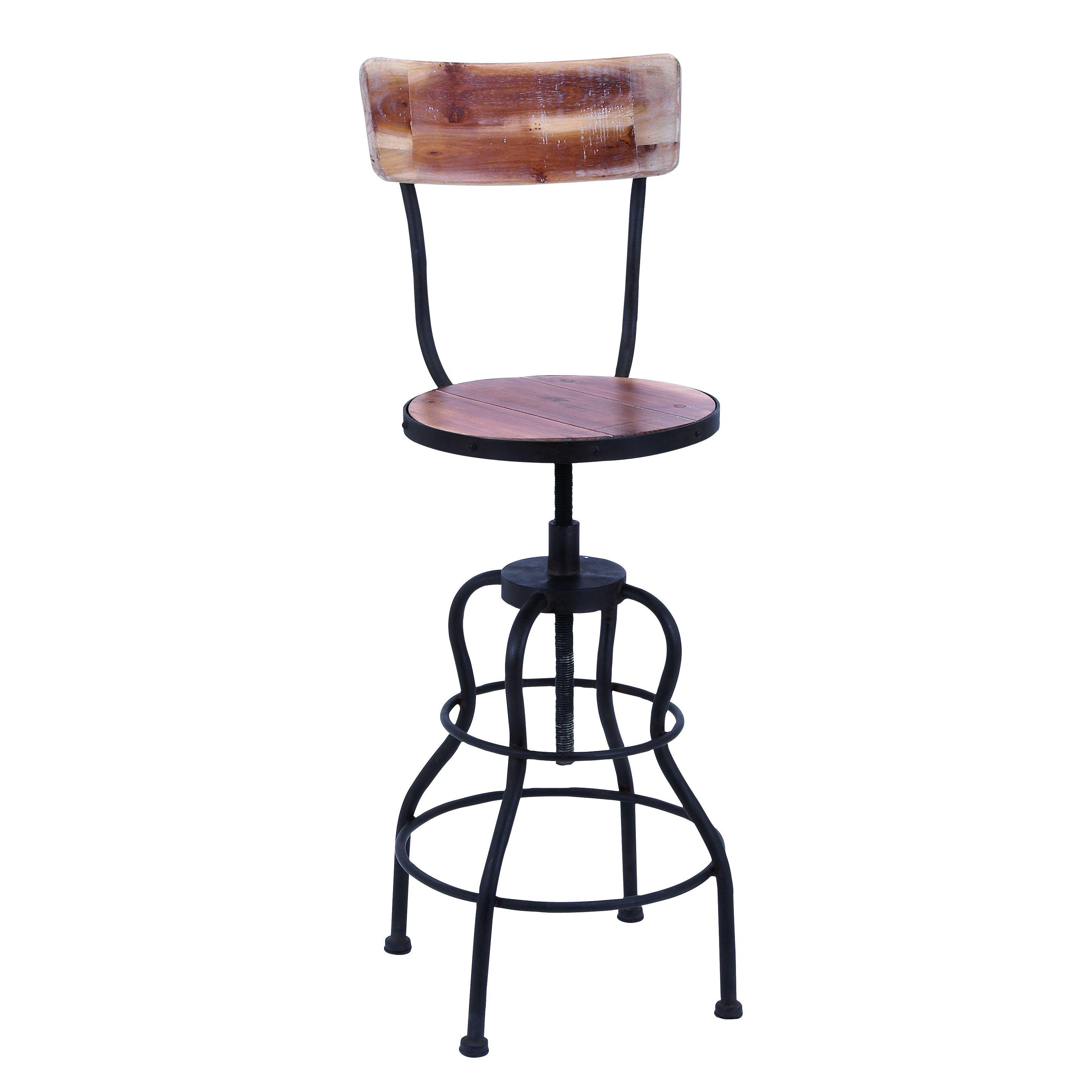 Uma Enterprises Harmon Adjustable Height Swivel Bar Stool Bar Stools Adjustable Bar Stools Rustic Vintage Decor