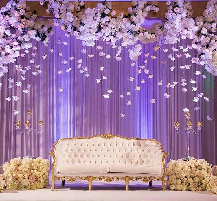 White floating floral by Three Petals Design Wedding reception backdrop Wedding stage design
