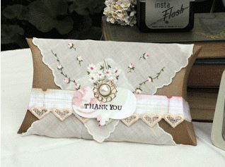 HANKIEs WRAPPED PILLOW BOX DARLING IDEA find hankies here http://www.nanaluluslinensandhandkerchiefs.com/Ladies_New_and_Vintage_Handkerchiefs_Hankies_s/1921.htm