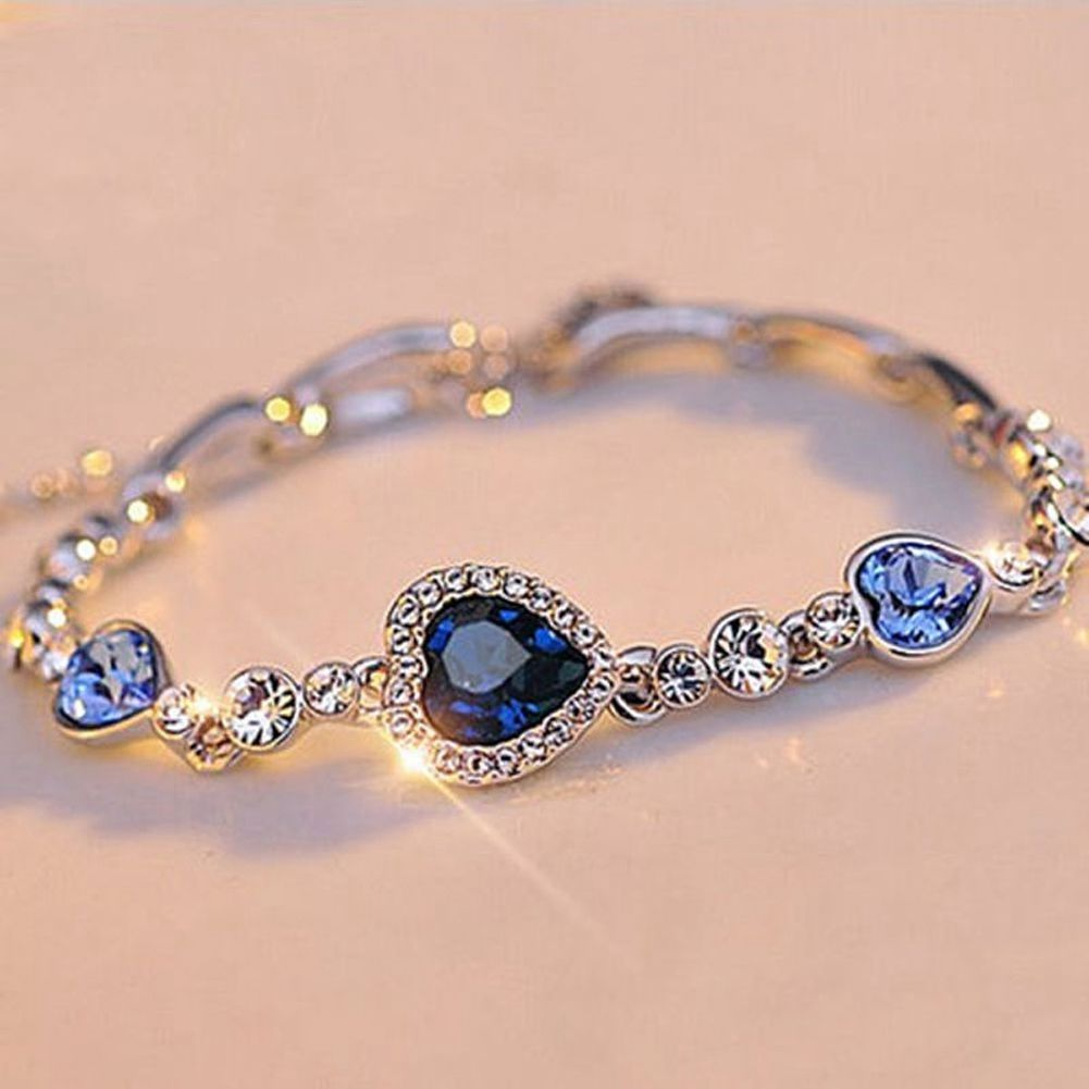 Blue crystal bracelet silver plated chian bangle jewelry for women