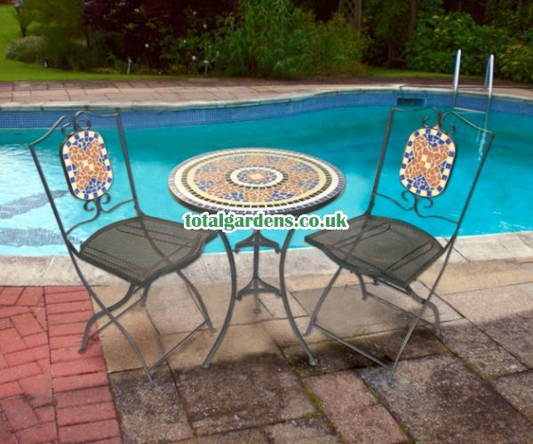 Kingfisher Mosaic Bistro Set Patio Table and Chair Set Metal Garden Furnitu
