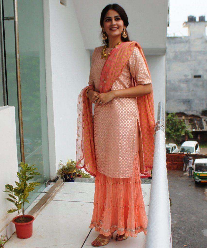 ce717d75e3 Peach Love Short Kurti with Gathered Sharara and Net & Banarsi Georgette  Dupatta
