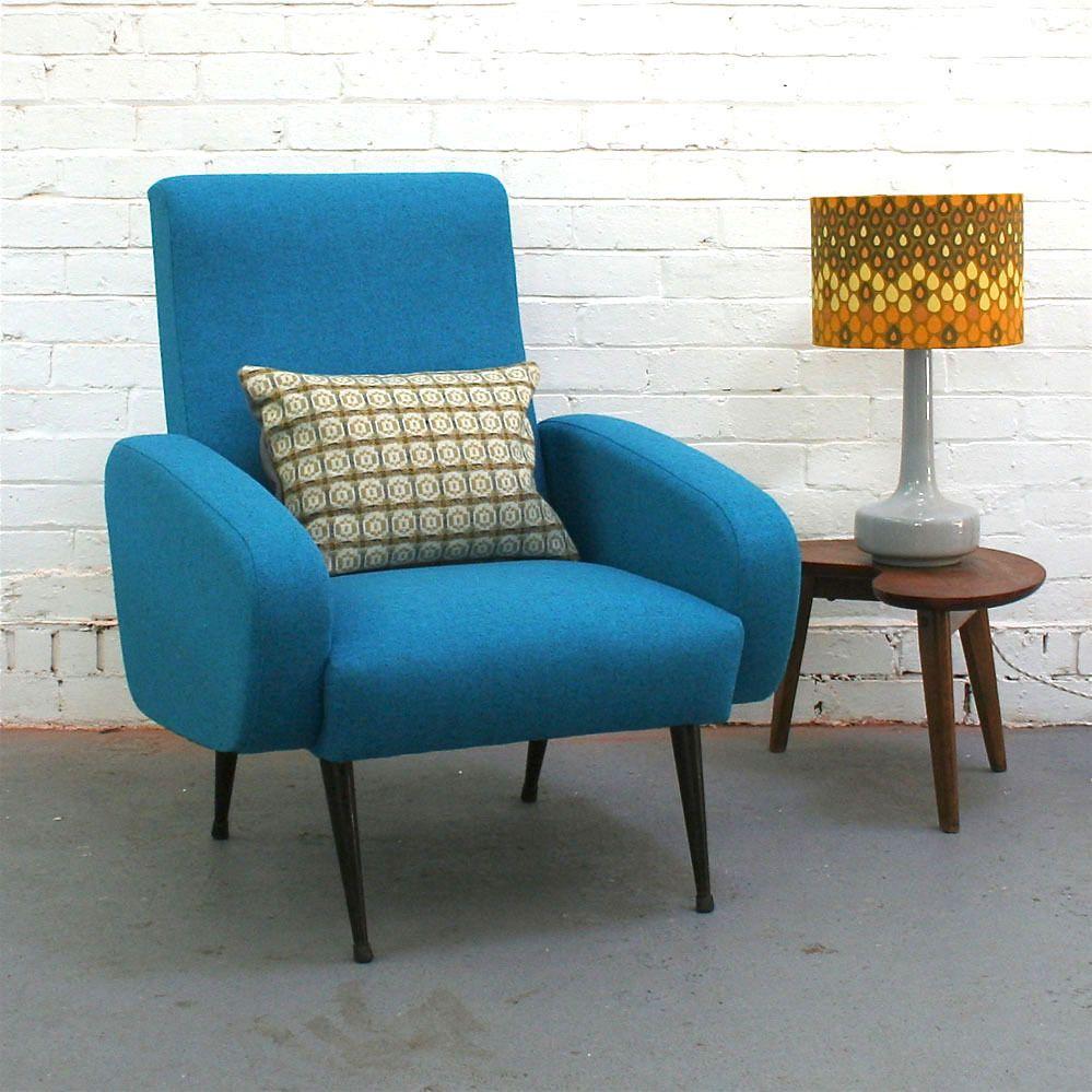 Elegant Winteru0027s Moon U2014 Vintage Armchair In Blue Wool Design Ideas