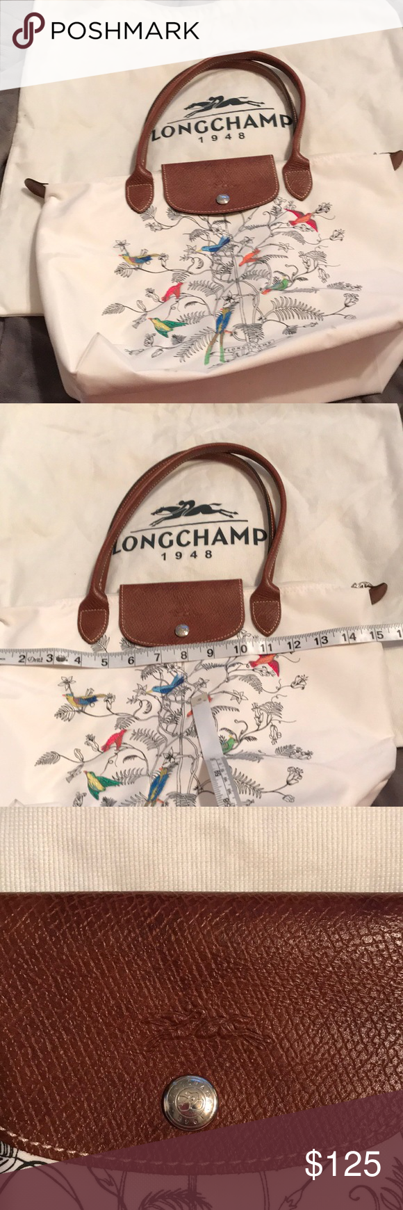 a76255799722 Longchamp Bag Limited edition Longchamp with birds in tree Used condition  some marks on outside and inside but still very stylish Longchamp Bags