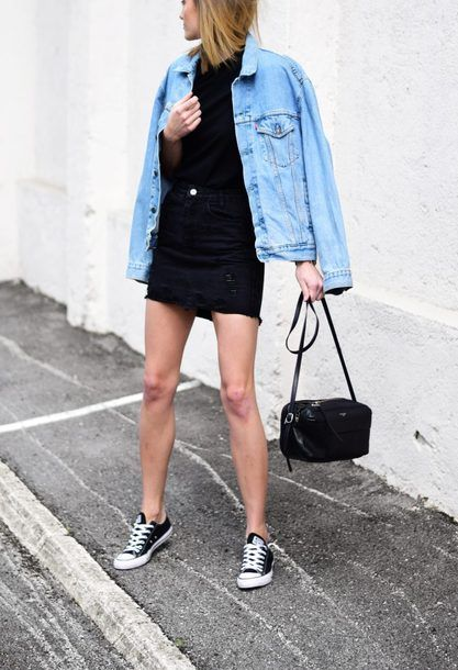 79476f3f90 ... And White Converse Sneakers Black High Waisted Frayed Denim Mini Skirt  And Oversized Light Wash Light Blue Denim Jean Jacket Blogger Street Style  Tumblr