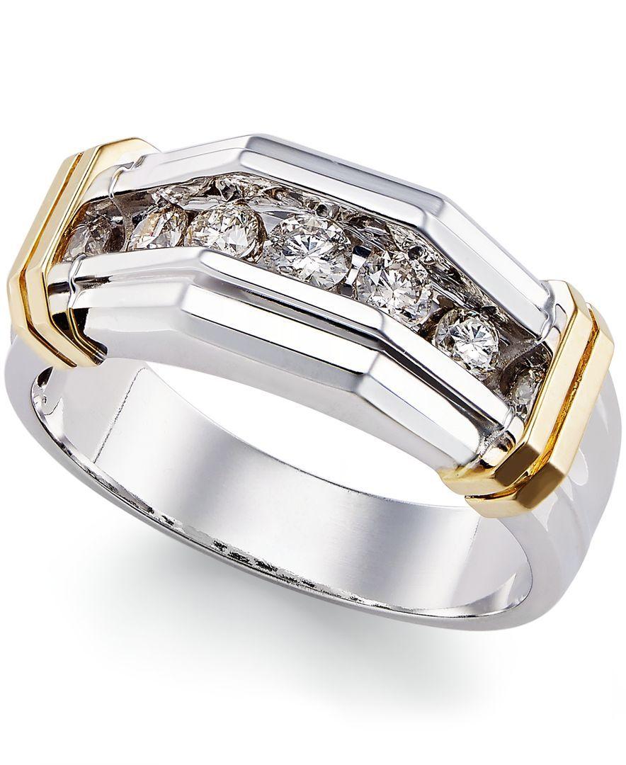 Macy's Men's Diamond Ring (1/2 ct. t.w.) in 10k Gold and