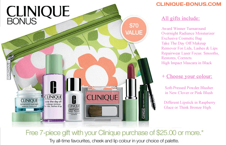 Gift with Clinique purchase at Belk http//cliniquebonus