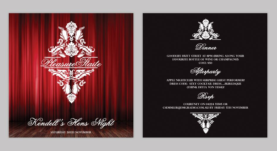 burlesque party ideas | Hens Night Invitation design | Littlehat ...