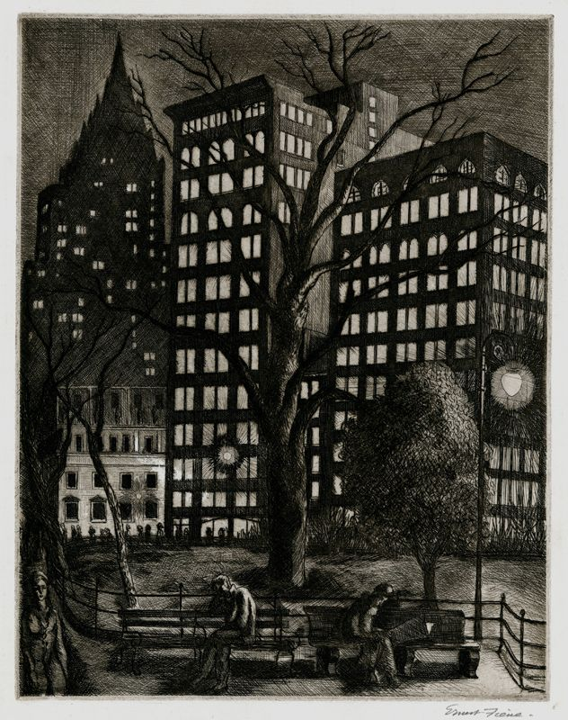 City Lights (Madison Square Park) aka: Madison Square Garden by Ernest Fiene