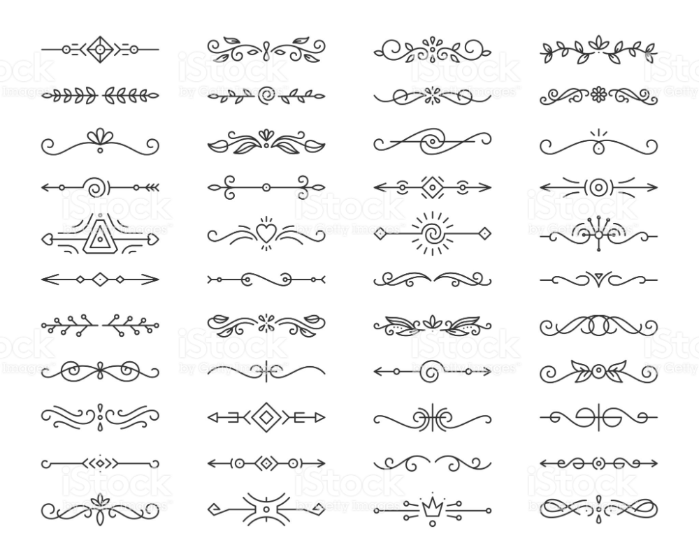 Text Divider Thin Line Icons Set Outline Sign Border Element Kit Text Dividers Line Icon Icon Set Vector