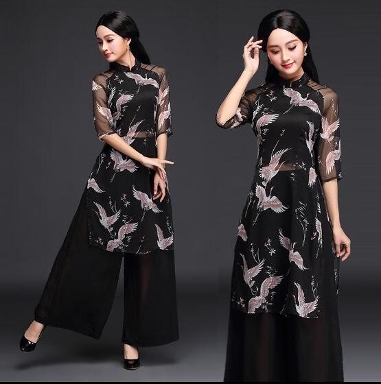 3b1cd8de01b 2017 New Fashion classic style Black cheongsam dress Summer Vietnam ao dai  Plus size cheongsam