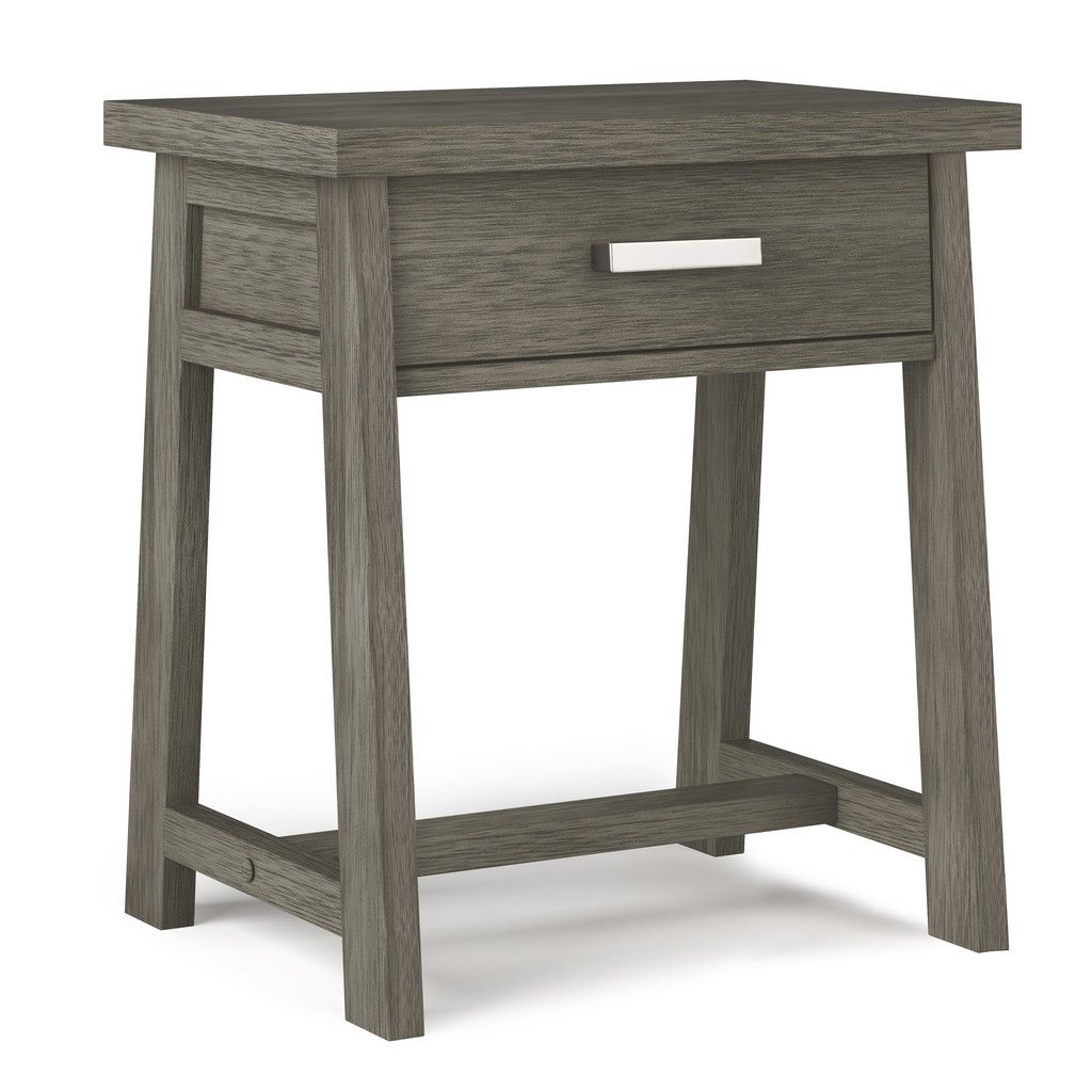 Sawhorse Solid Wood 24 Inch Wide Modern Industrial Bedside Nightstand Table In Farmhouse Grey Simpli Home Axcs Bedside Table Grey Simpli Home Wood Nightstand 24 inch wide table