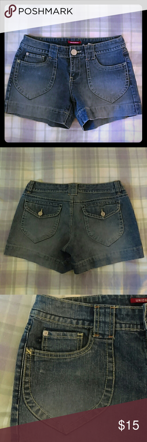 "Button Pocket Denim Shorts Fabulous little 2.5"" shorts! The flaps on the back pockets give anyone a little extra booty! The fading detail on the front coin pocket is perfect. Great for us slim thick girls! UNIONBAY Shorts Jean Shorts"