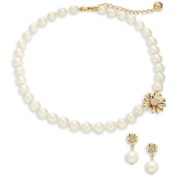 Kate Spade New York Faux Pearl Necklace and Earring Boxed Set (2,910 HNL) ❤ liked on Polyvore featuring jewelry, earrings, white, faux pearl earrings, fake pearl jewelry, imitation jewellery, kate spade earrings and fake earrings