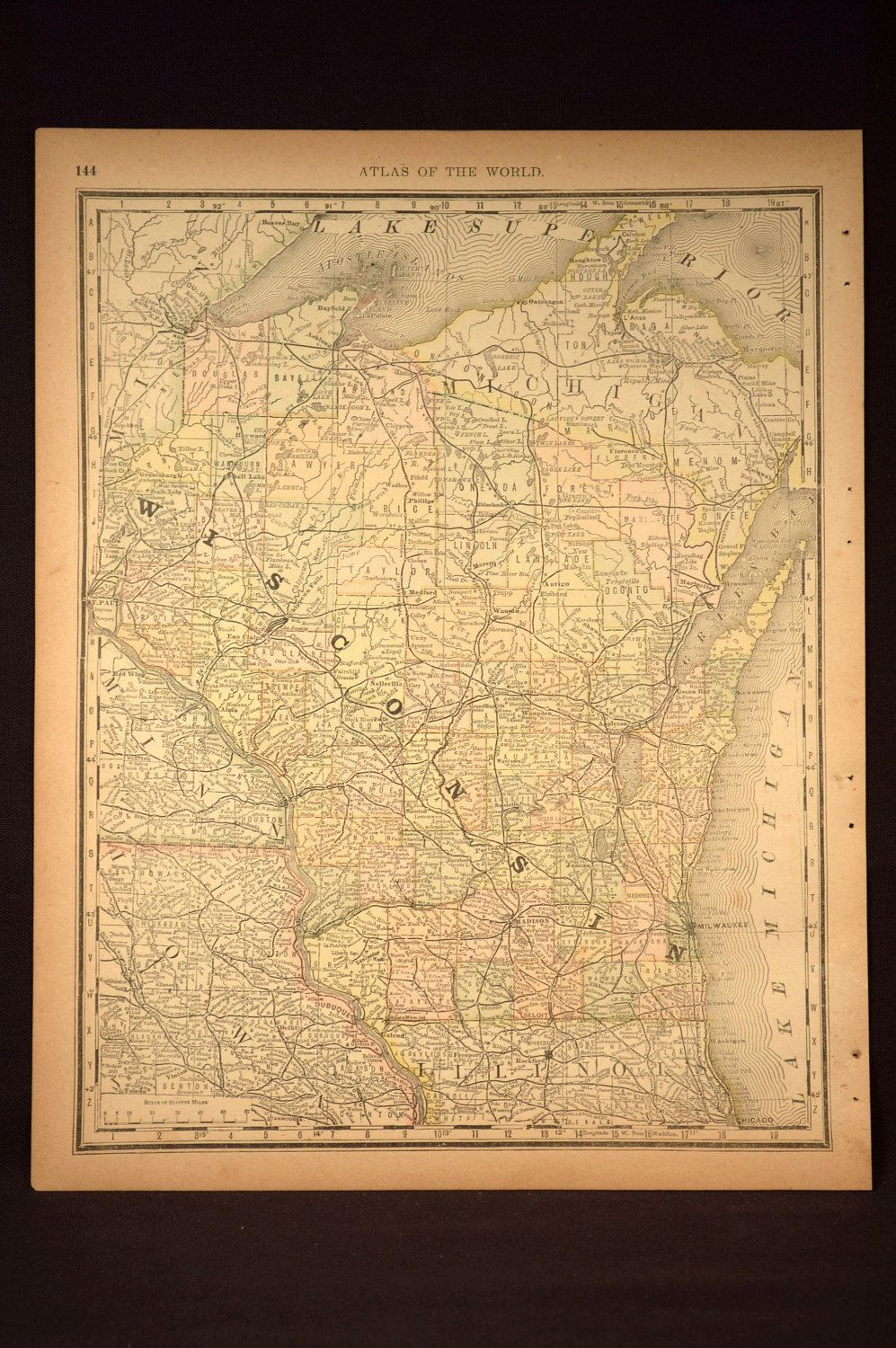 Antique Wisconsin Map Wisconsin Original Hand Colored | Map Wall ...