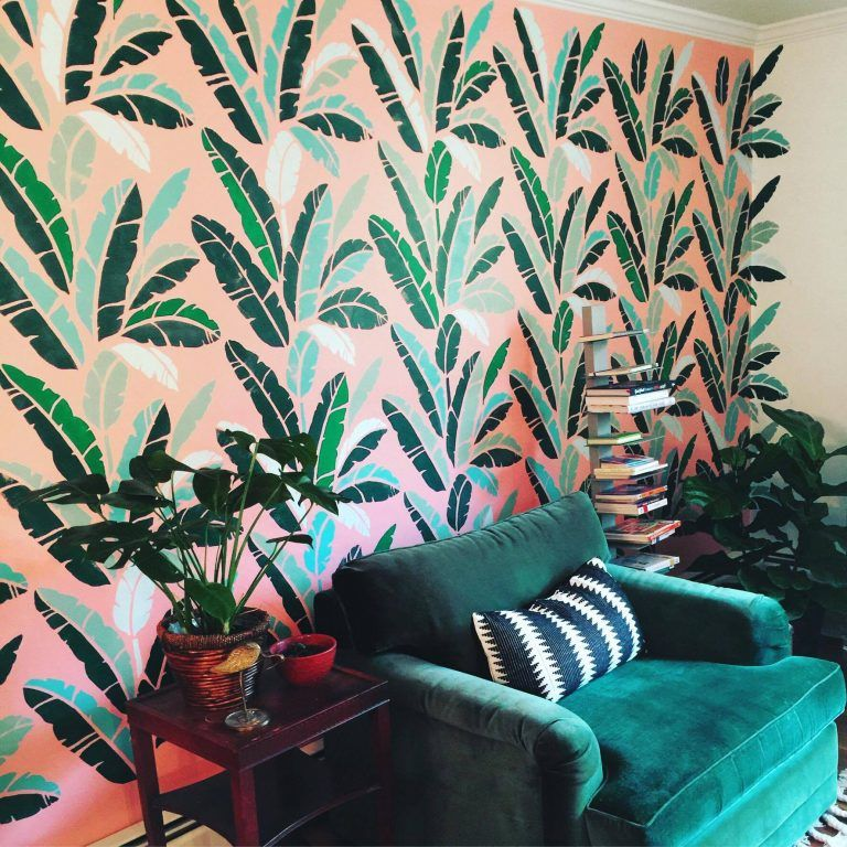 A Stenciled Accent Wall Based On The Trendy Martinique Wallpaper Painted With Banana Leaf Allover
