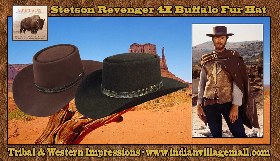 Stetson 4X Buffalo Fur Clint Eastwood Style Revenger Hat With Movie Set  Reproduction Hatband- Chocolate Or Black From Tribal And Western  Impressions ... c3fdaf2a375