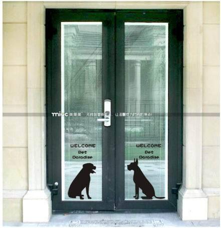 Free Shipping Pet Glass Sliding Door Pet Beauty Decoration Pet Shop Window Glass Door Sticker Grilles Applique Sliding Glass Door Window Stickers Sliding Doors
