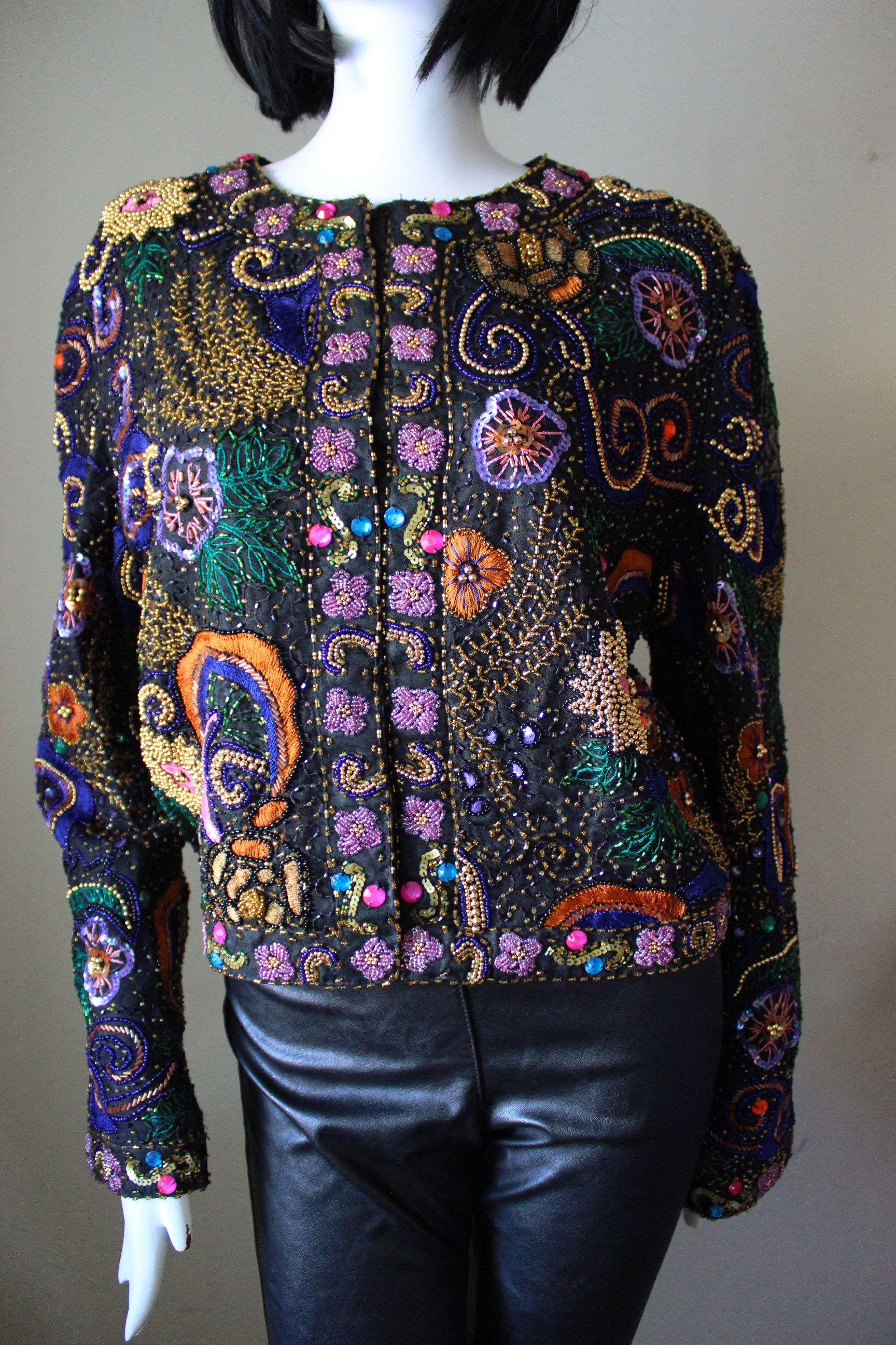 af42c8b1 Sequin beaded jacket, embroidered, Laurence Kazar, silk, vintage, 1980s,  short, long sleeve. Excellent condition