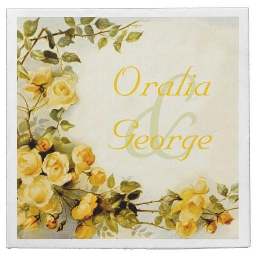 Vintage romantic painting of roses wedding disposable napkins. #papernapkins #roses, #vintage, #wedding