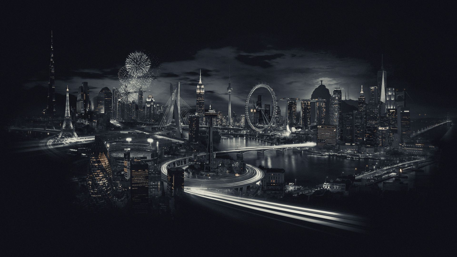 1920x1080 City Black And White Landmarks City Night Wallpaper World Cities Skyline City Skyline