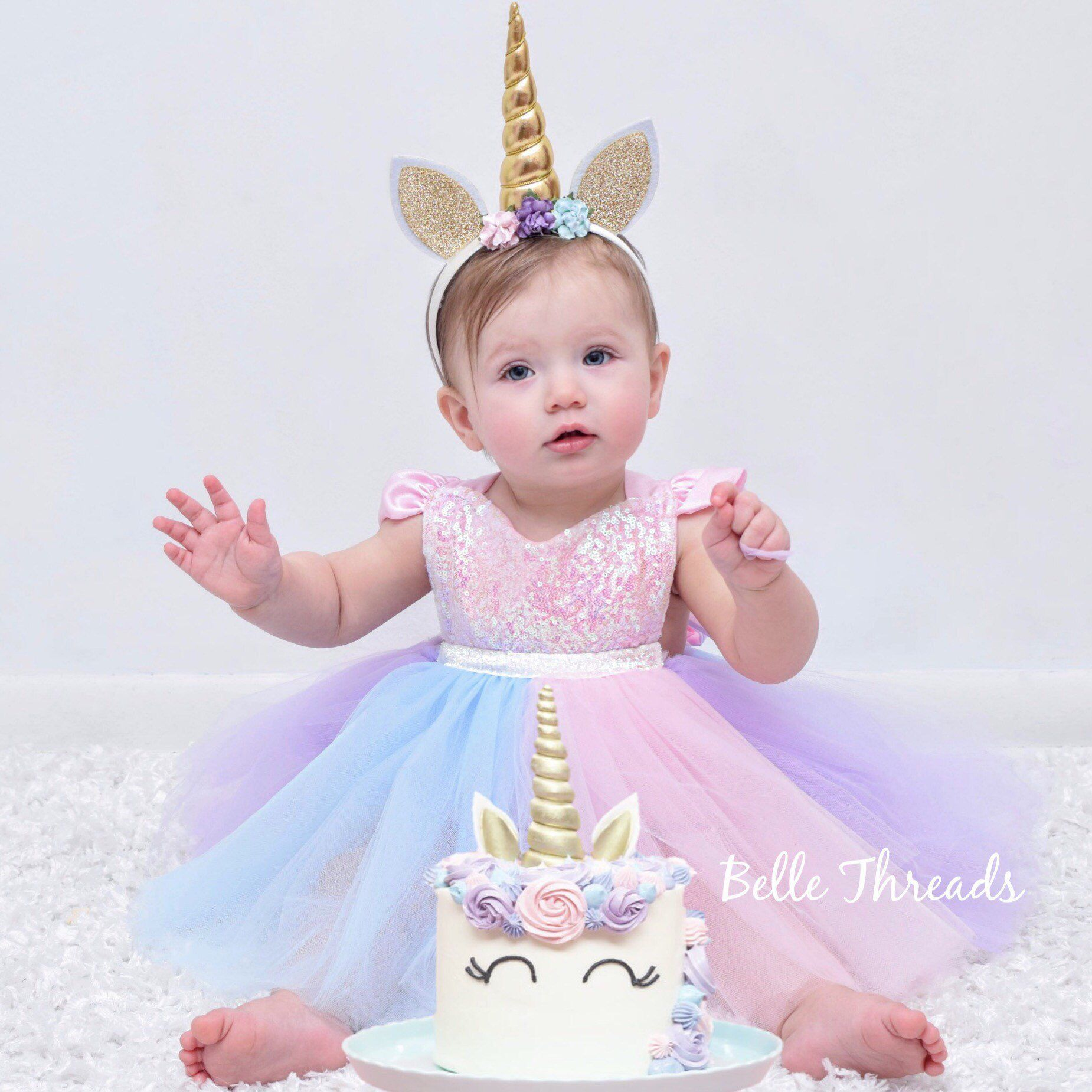 Unicorn Rainbow Dress Unicorn First Birthday Dress Unicorn Etsy Unicorn Birthday Outfit Unicorn Dress Girls First Birthday Dresses