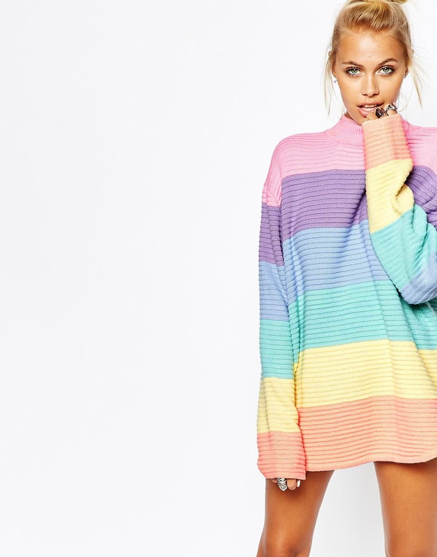 86d15c2e208 UNIF Oversized Jumper In Pastel Rainbow Colour Block