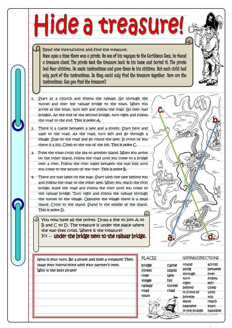 Hide A Treasure Worksheet Free Esl Printable Worksheets Made By Teachers Grammar Practice Learn English Reading Comprehension Worksheets [ 1079 x 763 Pixel ]