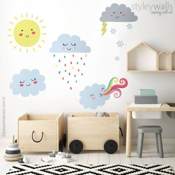 clouds wall decal, weather wall decal, clouds wall sticker