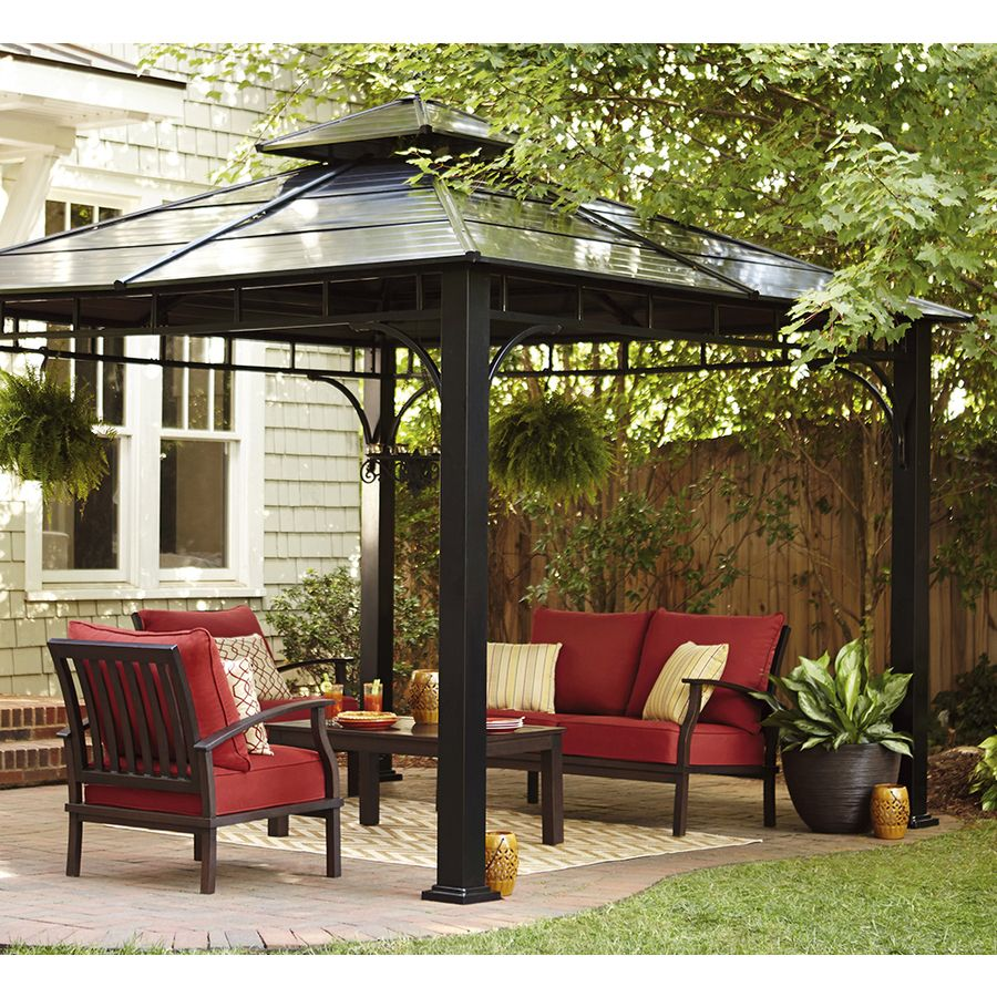 Shop Allen Roth Black Square Grill Gazebo Foundation 10 Ft X