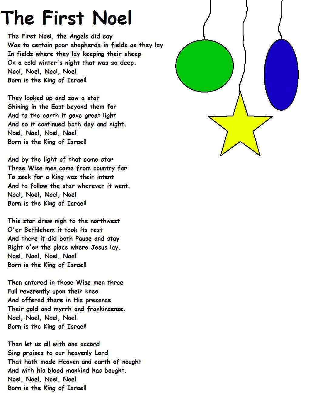 The First Noel Lyrics.jpg (1019×1319) | Carols | Pinterest | Noel