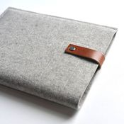 iPad/Kindle/Nook sleeve of wool felt and leather, by byrd & belle